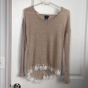 Long sleeve open back tan sweater-shirt